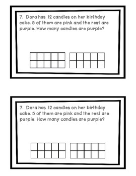 Word Problems: Addition and Subtraction within 20 with Ten Frames
