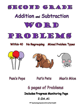 Word Problems: Addition and Subtraction within 40: Mixed w/ Progress Monitoring