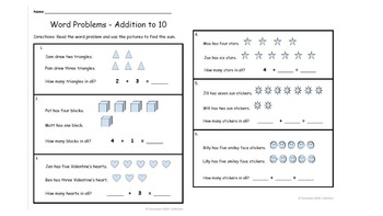Word Problems Addition to 10 (With Pictures)