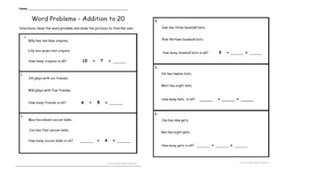 Word Problems Addition to 20 (With Pictures)