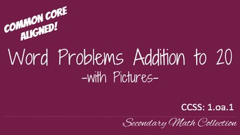 1st Grade Worksheet Adding to 20 (Word Problems)  with Pictures CCSS 1.oa.1