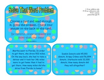 Word Problems- Addition/Subtraction