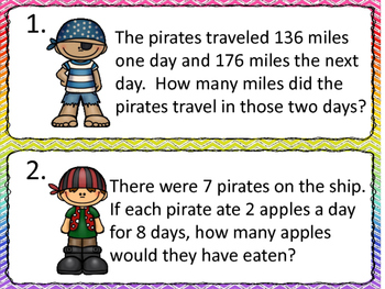 Word Problems:  All Four Operations--Pirate Theme