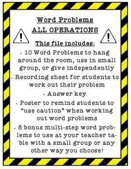 Word Problems - All Operations & Multi-Step 3rd 4th grade