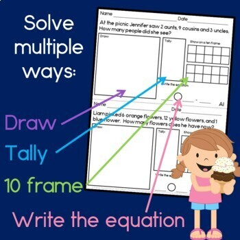 Word Problems All Year (Addition & Subtraction for first grade)