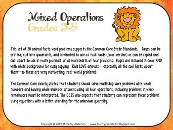 Word Problem Task Cards:  Amazing Animals--Grades 3-5 Mixed Operations