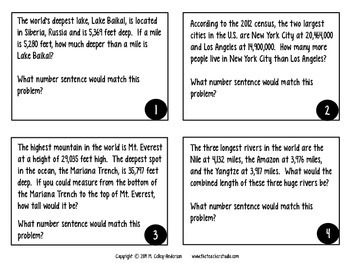 Word Problems:  Amazing Geography Facts--Grades 3-4 Mixed Operations