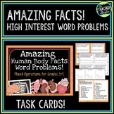 Word Problem Task Cards:  Amazing Human Body Facts--Grades 3-5 Mixed Operations