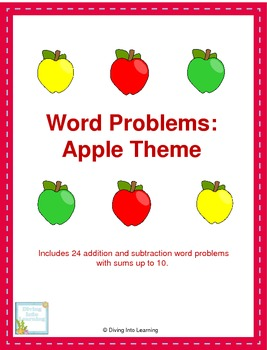 Word Problems: Apple Theme (First Grade)