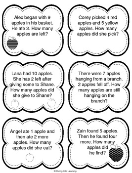 Word Problems: Apple Theme (First Grade) by Diving Into ...