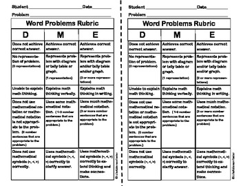 Word Problems Assessment Rubric