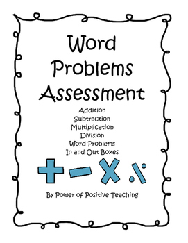 Word Problems Assessment with In-and-Out Boxes