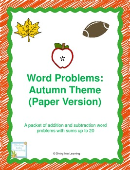 Word Problems: Autumn Theme (First Grade)