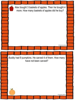 Word Problems: Autumn Theme for ActivBoard (First Grade)