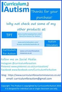 Word Problems BUNDLE Autism Special Education