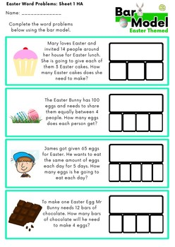 Word Problems: Bar Model Easter Multiplication and Division: Grades 2 - 3