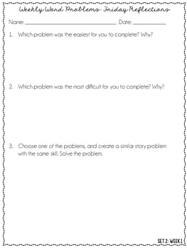 5th Grade Word Problems Spiral Review {Bundle: 20 Weeks}