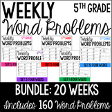5th Grade Word Problems {Bundle: 20 Weeks}