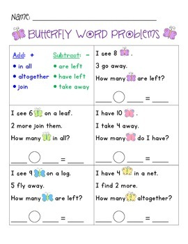WORD PROBLEMS - Butterfly Theme