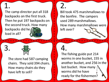 Word Problems:  Camping Theme -- Add and Subtract with Regrouping