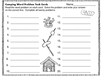 Word Problems:  Camping Theme with Four Operations