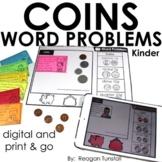 Word Problems Coins Kindergarten