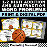 2nd Grade Addition and Subtraction Word Problem Task Cards Basketball Theme