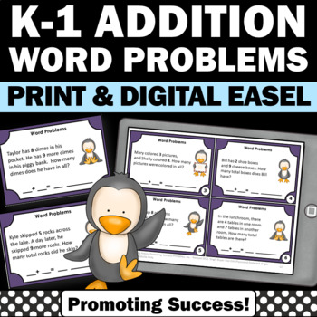 Addition Word Problems 1st Grade Math Centers, Word Problem Task Cards PENGUINS