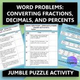Fractions, Decimals, Percents Word Problems $100,000 Pyramid Activity