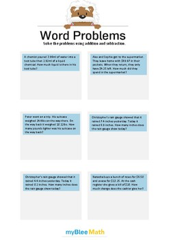 Word Problems - Decimals -4th-6th grade