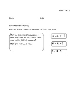 Subtraction Word Problems Differentiated Complex Tasks- MAFS.1.OA.1.1