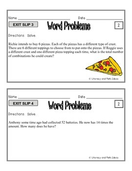Word Problems:  Differentiated Exit Slips {3 Levels of Instruction}