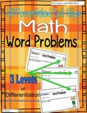 Word Problems:  Differentiated Exit Slips {3 Levels of Ins