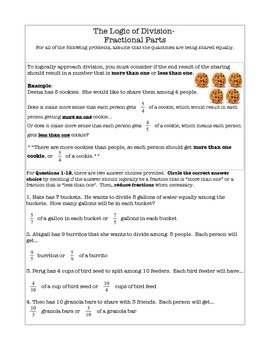 Word Problems- Dividing With Fractional Parts as Quotients