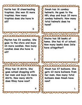 Word Problems Double Digit Without Regrouping