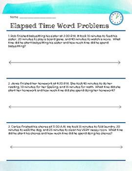 Word Problems: Elapsed Time FREEBIE
