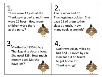 Word Problems for Thanksgiving