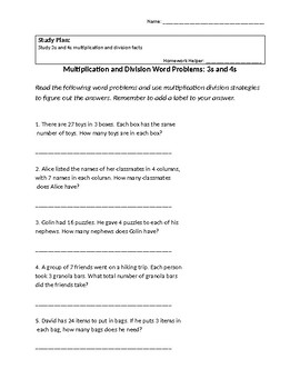 Word Problems Factors 3 and 4 Multiplication and Division