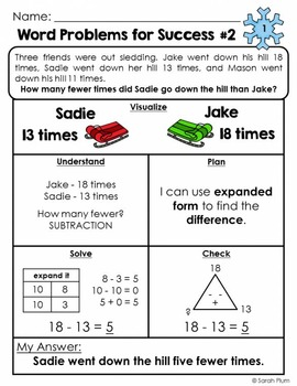 Word Problems For Success - January Sampler