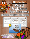 November / Thanksgiving Word Problems {For Success!}