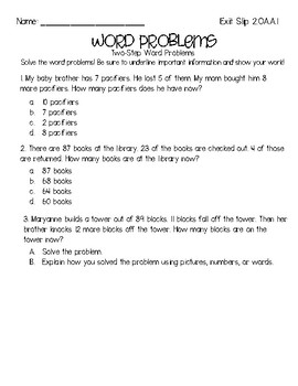 Word Problems Formative Assessment Pack