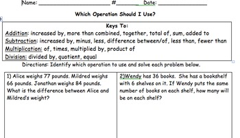 Word Problems Four Operations