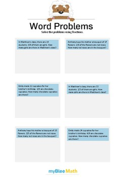 Word Problems - Fractions -6th grade