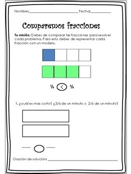 Compare Fractions Word Problems in Spanish/ Problemas de fracciones