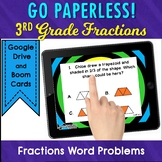 Fractions Word Problems Task Cards 3rd Grade Math Digital, No Prep Test Prep