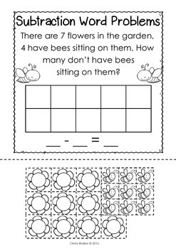 Word Problems - Grade One Bundle - Cut and Paste, Addition, Subtraction