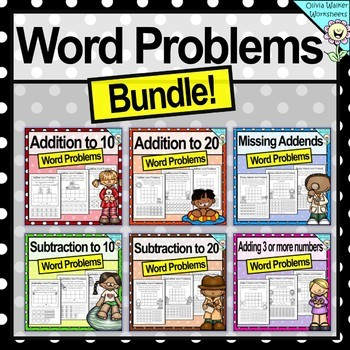 Addition and Subtraction Word Problems - Grade One Bundle - Cut and Paste