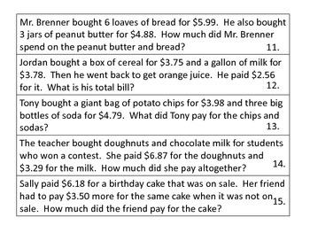 Word Problems--Grocery Store Theme--BUNDLE