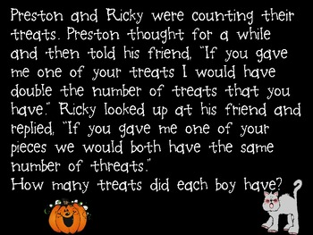 Word Problems (Halloween, Trick or Treat Stories)
