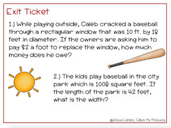 Word Problems Involving Area (Power Point) Intellectually Gifted